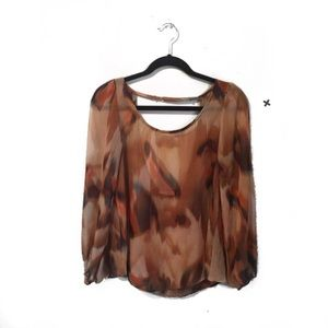 Phanuel Brown Abstract Semi Sheer Cut Out Blouse